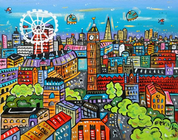Lovely Futuristic View of London, original acrylic painting